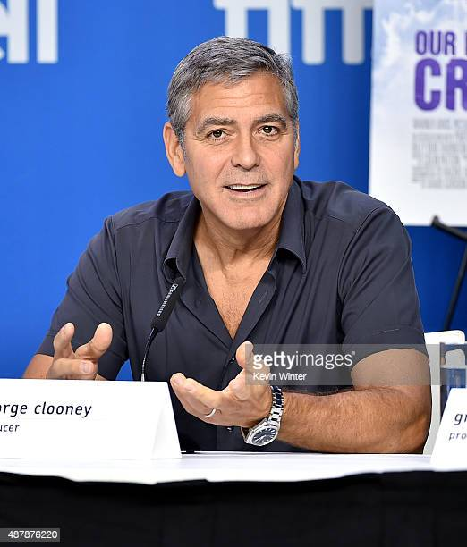 Actor George Clooney speaks onstage during the 'Our Brand Is Crisis' press conference at the 2015 Toronto International Film Festival at TIFF Bell...
