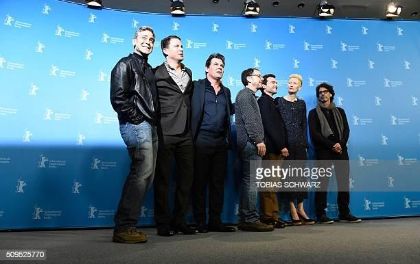 TOPSHOT US actor George Clooney US actor Channing Tatum US actor Josh Brolin US director Ethan Coen US actor Alden Ehrenreich British actress Tilda...