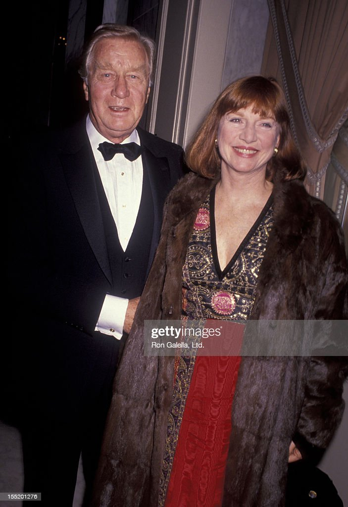 Actor George Gaynes and Allyn Ann McLerie attend Spirit of America Awards Gala on December 12, 1990 at the Beverly Wilshire Hotel in Beverly Hills, California.
