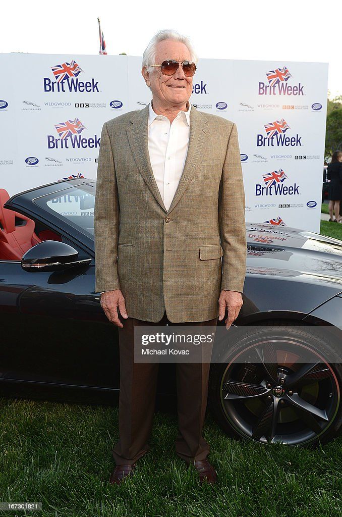 Actor <a gi-track='captionPersonalityLinkClicked' href=/galleries/search?phrase=George+Lazenby&family=editorial&specificpeople=228936 ng-click='$event.stopPropagation()'>George Lazenby</a> attends the BritWeek Los Angeles Red Carpet Launch Party with Official Vehicle Sponsor Jaguar on April 23, 2013 in Los Angeles, California.