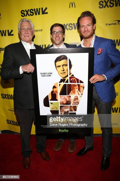 Actor George Lazenby filmmaker Josh Greenbaum and actor Josh Lawson attend the premiere of 'Becoming Bond' during 2017 SXSW Conference and Festivals...