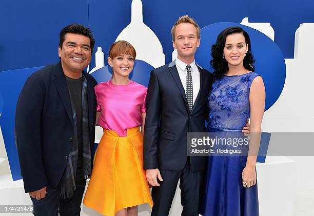 Actor George Lopez actress Jayma Mays actor Neil Patrick Harris and singer Katy Perry attend the premiere Of Columbia Pictures' 'Smurfs 2' at Regency...