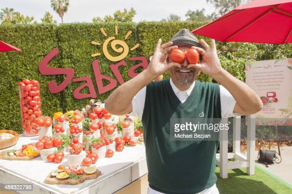 Actor George Lopez enjoys the Sabra Garden at the 7th Annual George Lopez Celebrity Golf Classic Presented by Sabra Salsa at Lakeside Golf Club on...