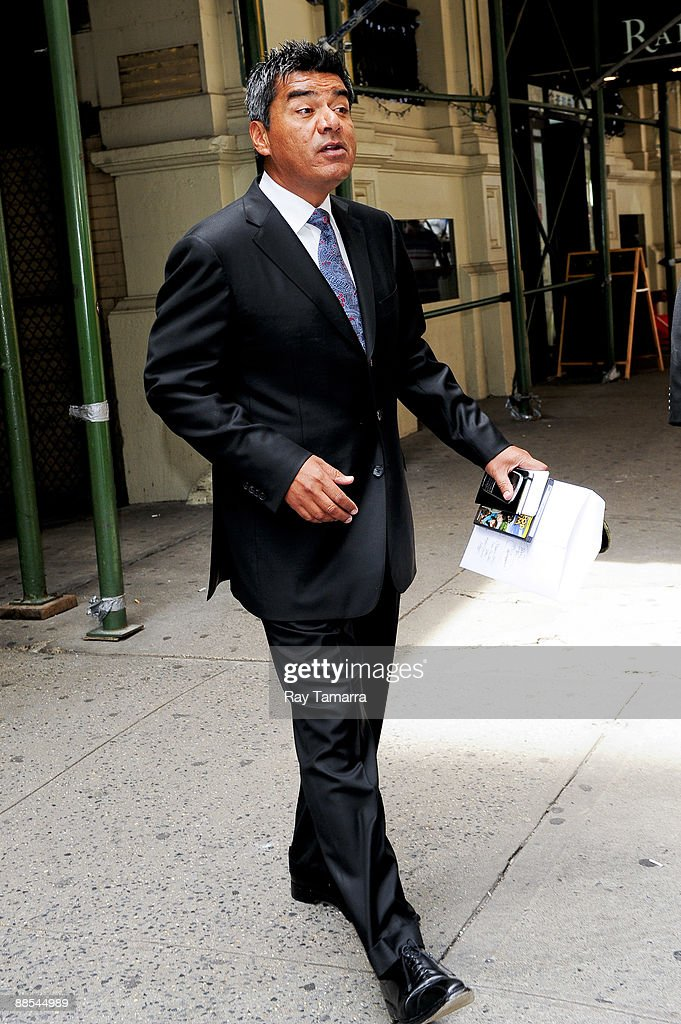Actor George Lopez leaves his Midtown Manhattan hotel on June 17, 2009 in New York City.