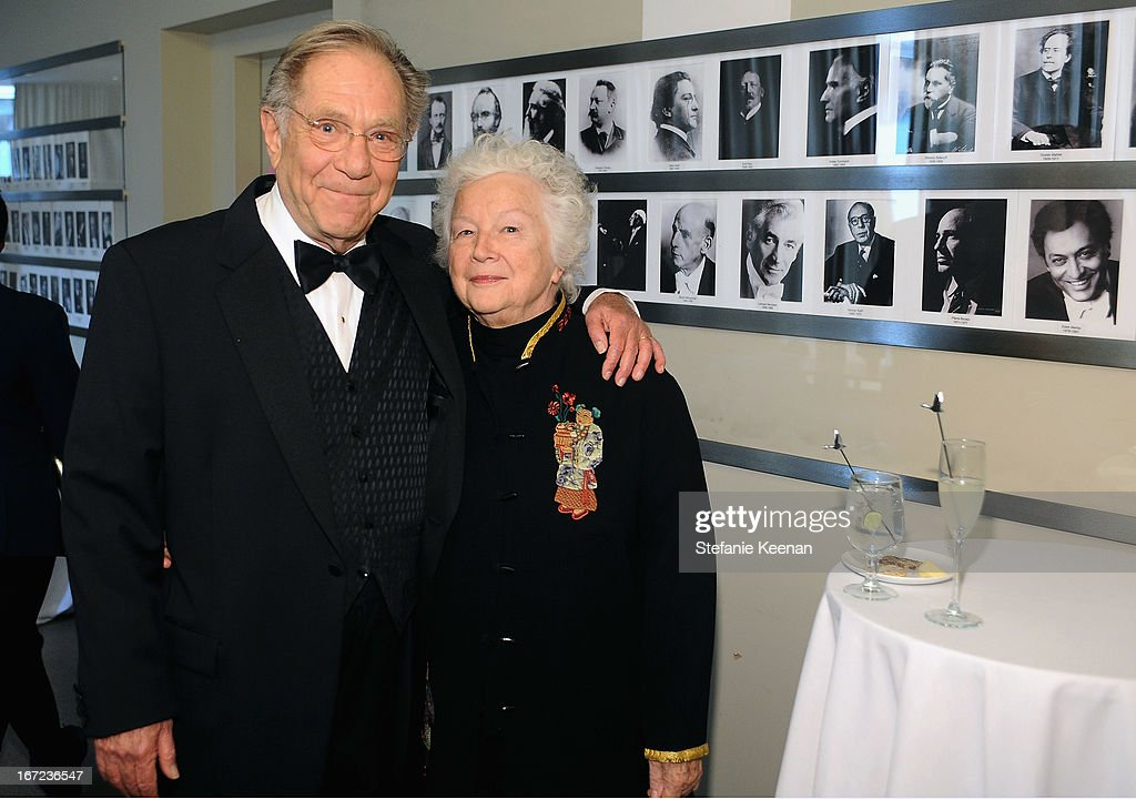 Actor <a gi-track='captionPersonalityLinkClicked' href=/galleries/search?phrase=George+Segal&family=editorial&specificpeople=242935 ng-click='$event.stopPropagation()'>George Segal</a> and Sonia Schultz Greenbaum attend the Grey Goose cocktail reception of The Film Society of Lincoln Center's 40th Chaplin Award Gala at Avery Fisher Hall, Lincoln Center on April 22, 2013 in New York City.