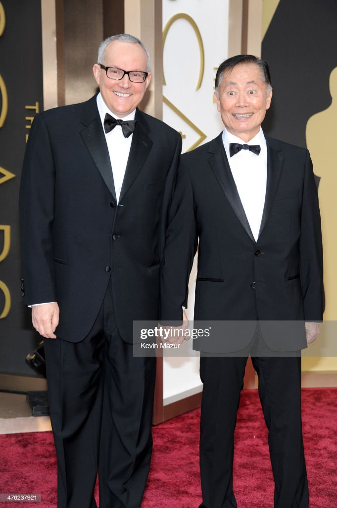 Actor <a gi-track='captionPersonalityLinkClicked' href=/galleries/search?phrase=George+Takei&family=editorial&specificpeople=1534988 ng-click='$event.stopPropagation()'>George Takei</a> (R) and Brad Altman attend the Oscars held at Hollywood & Highland Center on March 2, 2014 in Hollywood, California.