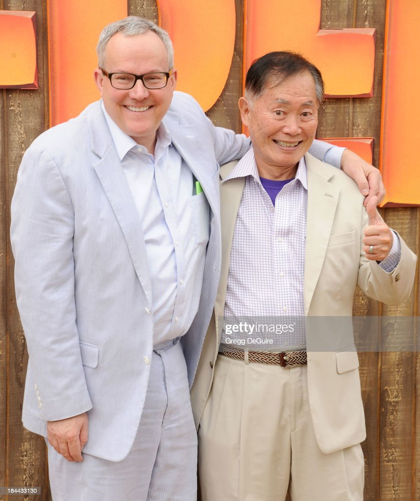Actor <a gi-track='captionPersonalityLinkClicked' href=/galleries/search?phrase=George+Takei&family=editorial&specificpeople=1534988 ng-click='$event.stopPropagation()'>George Takei</a> (R) and <a gi-track='captionPersonalityLinkClicked' href=/galleries/search?phrase=Brad+Takei&family=editorial&specificpeople=5403945 ng-click='$event.stopPropagation()'>Brad Takei</a> arrive at the Los Angeles premiere of 'Free Birds' at Westwood Village Theatre on October 13, 2013 in Westwood, California.