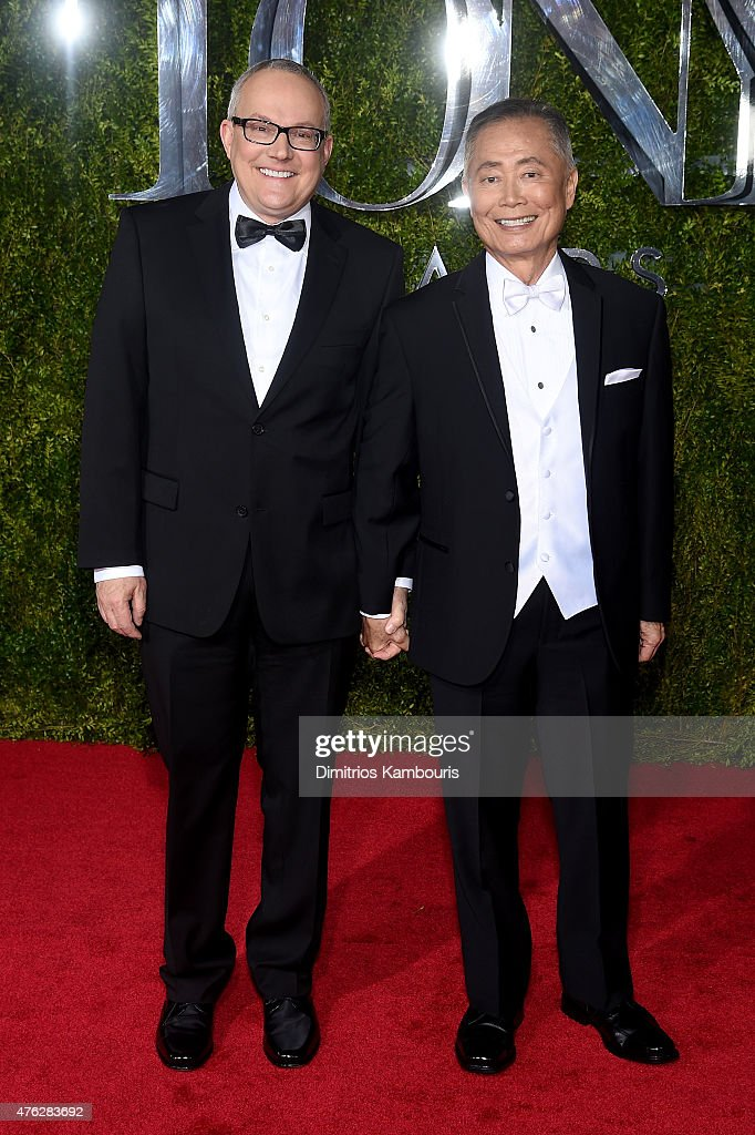 Actor <a gi-track='captionPersonalityLinkClicked' href=/galleries/search?phrase=George+Takei&family=editorial&specificpeople=1534988 ng-click='$event.stopPropagation()'>George Takei</a> (R) and <a gi-track='captionPersonalityLinkClicked' href=/galleries/search?phrase=Brad+Takei&family=editorial&specificpeople=5403945 ng-click='$event.stopPropagation()'>Brad Takei</a> attend the 2015 Tony Awards at Radio City Music Hall on June 7, 2015 in New York City.