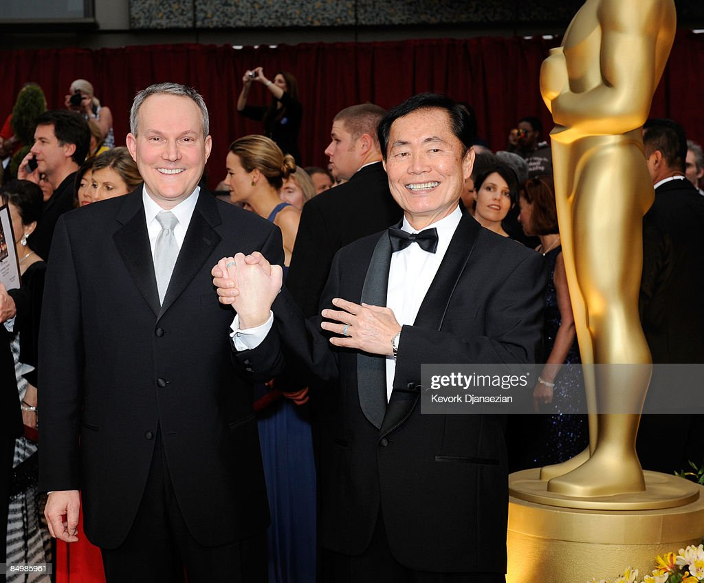 Actor <a gi-track='captionPersonalityLinkClicked' href=/galleries/search?phrase=George+Takei&family=editorial&specificpeople=1534988 ng-click='$event.stopPropagation()'>George Takei</a> (R) and husband Brad Altman arrive at the 81st Annual Academy Awards held at Kodak Theatre on February 22, 2009 in Los Angeles, California.