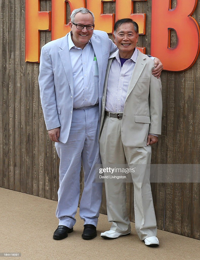 Actor <a gi-track='captionPersonalityLinkClicked' href=/galleries/search?phrase=George+Takei&family=editorial&specificpeople=1534988 ng-click='$event.stopPropagation()'>George Takei</a> (R) and husband Brad Altman attend the premiere of Relativity Media's 'Free Birds' at the Westwood Village Theatre on October 13, 2013 in Westwood, California.