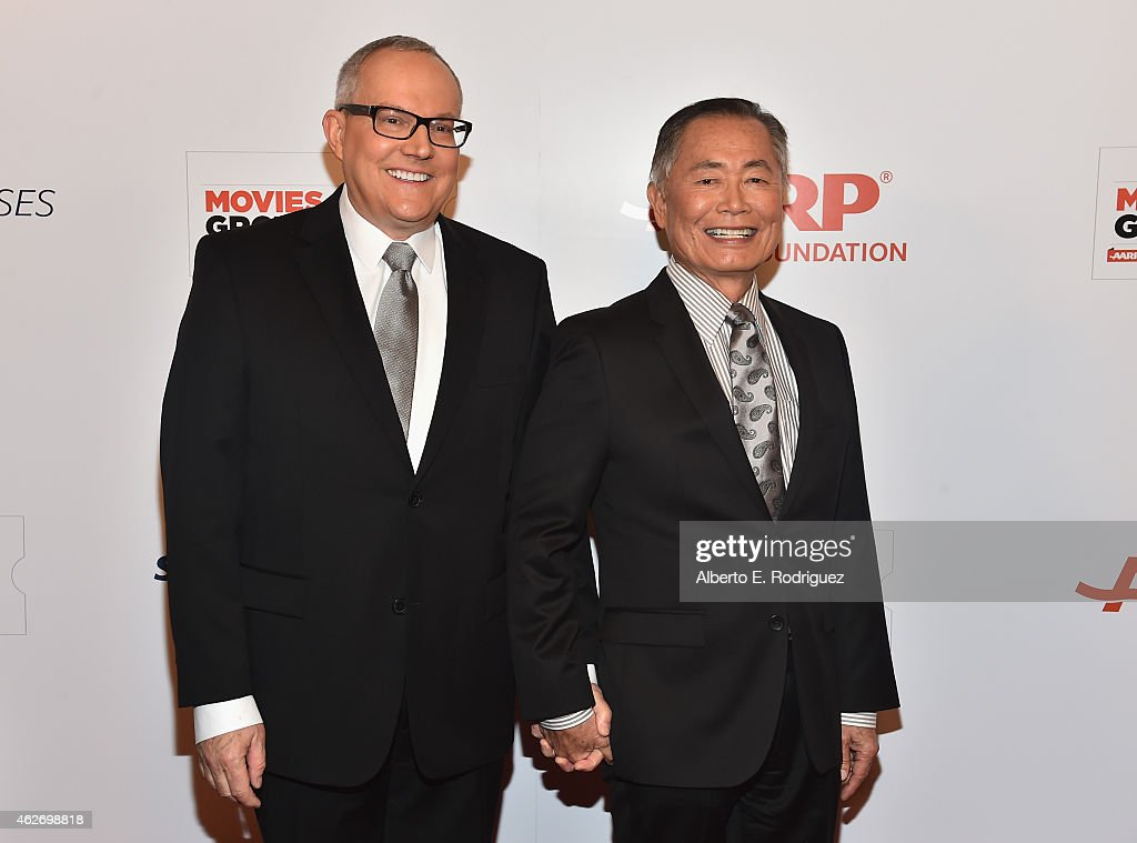 Actor George Takei (R) Brad Takei arrives to AARP The Magazine's 14th Annual Movies For Grownups Awards Gala at the Beverly Wilshire Four Seasons Hotel on February 2, 2015 in Beverly Hills, California.