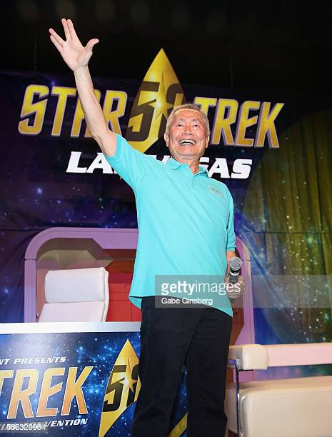 Actor George Takei speaks during the 15th annual official Star Trek convention at the Rio Hotel Casino on August 5 2016 in Las Vegas Nevada