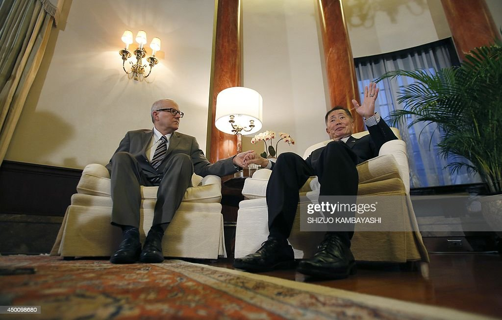 US actor George Takei (R) speaks to the media with his husband Brad Altman before a reception of LGBT community at the US Ambassador to Japan Caroline Kennedy's official residence in Tokyo on June 5, 2014. Takei, The 'Star Trek' actor, said he needed courage and anger to come out as gay and to join the equal rights movement for sexual minorities in the US, and he hopes his Japanese counterparts will do the same to make their society more equal.