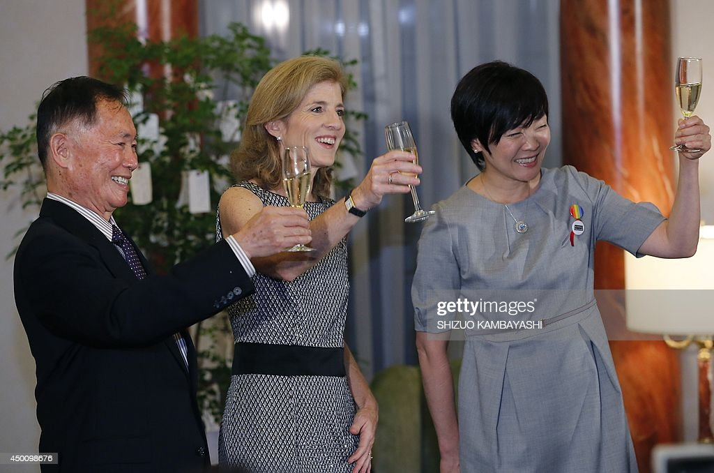 US actor George Takei (L), US Ambassador to Japan Caroline Kennedy (c) and Japan's Prime Minister Shinzo Abe's wife Akie Abe toast during a reception of LGBT community at the US Ambassador to Japan Caroline Kennedy's official residence in Tokyo on June 5, 2014. Takei, The 'Star Trek' actor, said he needed courage and anger to come out as gay and to join the equal rights movement for sexual minorities in the US, and he hopes his Japanese counterparts will do the same to make their society more equal.