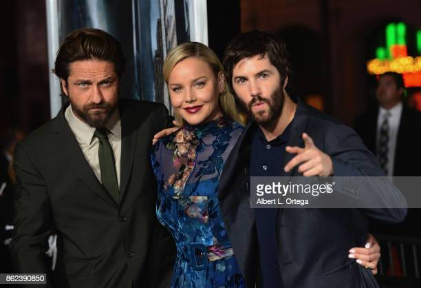 Actor Gerard Butler actress Abbie Cornish and actor Jim Sturgess arrive for the Premiere Of Warner Bros Pictures' 'Geostorm' held at TCL Chinese...