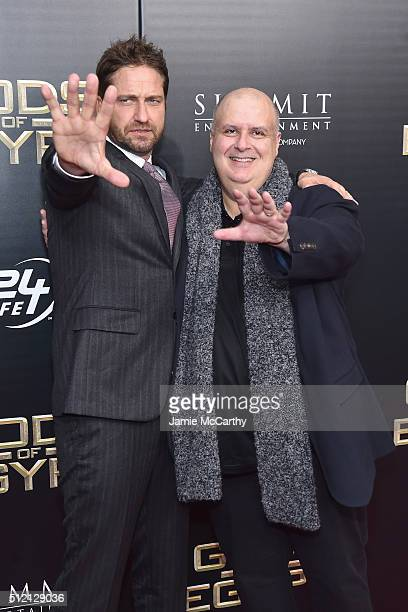Actor Gerard Butler and director Alex Proyas attends the 'Gods Of Egypt' New York Premiere at AMC Loews Lincoln Square 13 on February 24 2016 in New...
