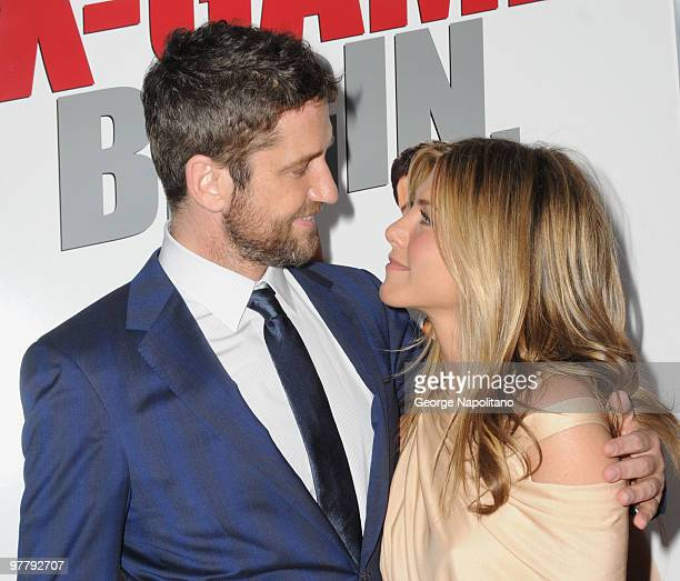 Actor Gerard Butler and Jennifer Aniston attend the premiere of 'The Bounty Hunter' at Ziegfeld Theatre on March 16 2010 in New York New York City