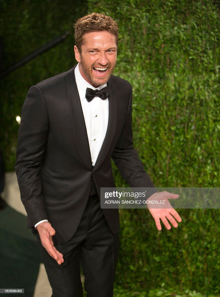 Actor Gerard Butler arrives at the 2013 Vanity Fair Oscar Party on February 24, 2013 in Hollywood, California.