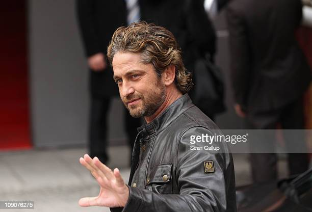 Actor Gerard Butler arrives at the 'Coriolanus' Photocall during day five of the 61st Berlin International Film Festival at the Grand Hyatt on...