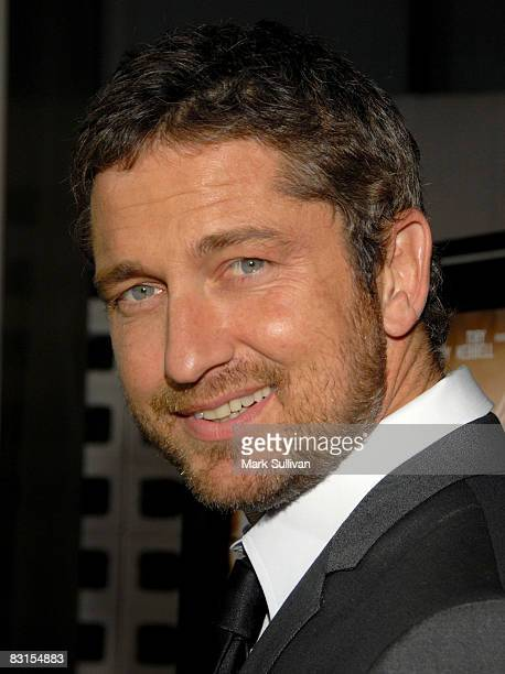 Actor Gerard Butler arrives at the Los Angeles premiere of 'RocknRolla' on October 6 2008 in Hollywood California