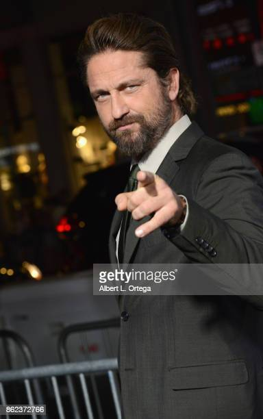 Actor Gerard Butler arrives for the Premiere Of Warner Bros Pictures' 'Geostorm' held at TCL Chinese Theatre on October 16 2017 in Hollywood...