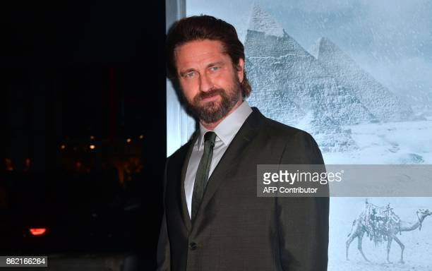 Actor Gerard Butler arrives for the World Premiere of the film 'Geostorm' in Hollywood California on October 16 2017 'Geostorm' opens in theaters on...
