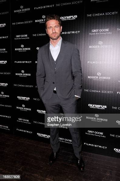 Actor Gerard Butler attends The Cinema Society with Roger Dubuis and Grey Goose screening of FilmDistrict's 'Olympus Has Fallen' at Tribeca Grand...