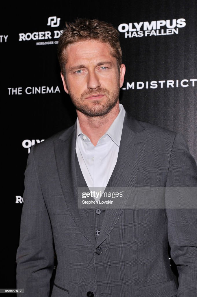 Actor <a gi-track='captionPersonalityLinkClicked' href=/galleries/search?phrase=Gerard+Butler+-+Actor&family=editorial&specificpeople=202258 ng-click='$event.stopPropagation()'>Gerard Butler</a> attends The Cinema Society with Roger Dubuis and Grey Goose screening of FilmDistrict's 'Olympus Has Fallen' at Tribeca Grand Hotel on March 11, 2013 in New York City.