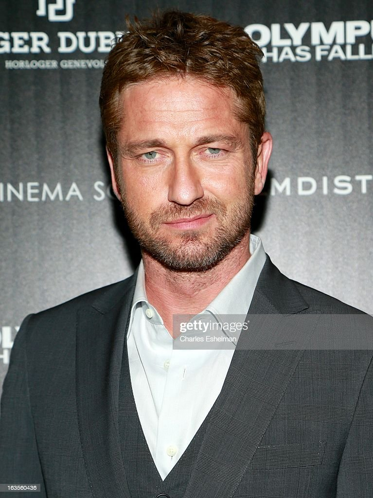 Actor Gerard Butler attends The Cinema Society with Roger Dubuis and Grey Goose screening of FilmDistrict's 'Olympus Has Fallen' at the Tribeca Grand Screening Room on March 11, 2013 in New York City.