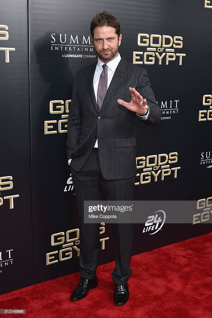 Actor Gerard Butler attends the 'Gods Of Egypt' New York Premiere at AMC Loews Lincoln Square 13 on February 24, 2016 in New York City.