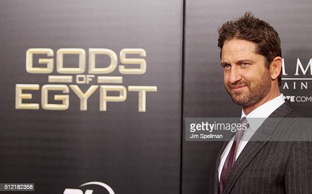 Actor Gerard Butler attends the 'Gods Of Egypt' New York premiere at AMC Loews Lincoln Square 13 on February 24 2016 in New York City