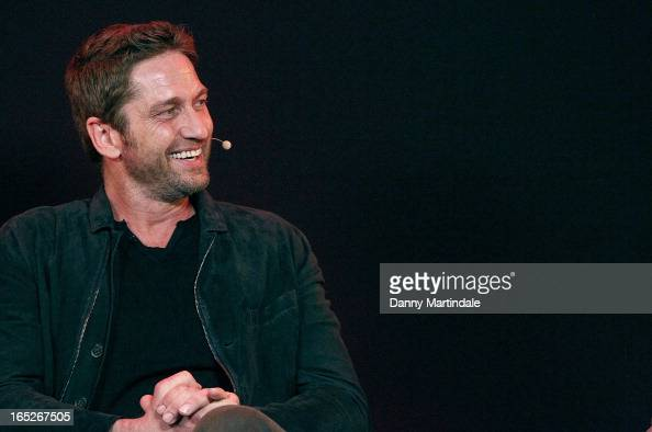 Actor Gerard Butler attends the Meet The Filmmakers event ahead of tomorrow's UK Premiere of 'Olympus Has Fallen' at Apple Store Regent Street on...