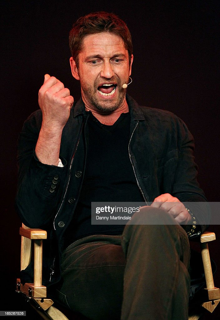 Actor <a gi-track='captionPersonalityLinkClicked' href=/galleries/search?phrase=Gerard+Butler&family=editorial&specificpeople=202258 ng-click='$event.stopPropagation()'>Gerard Butler</a> attends the Meet The Filmmakers event ahead of tomorrow's UK Premiere of 'Olympus Has Fallen' at Apple Store, Regent Street on April 2, 2013 in London, England.
