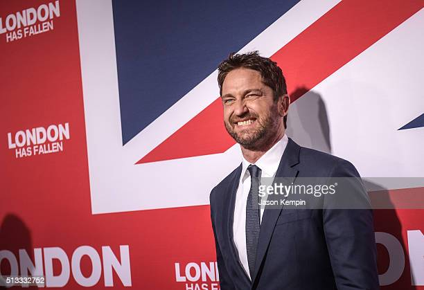 Actor Gerard Butler attends the premiere of Focus Features' 'London Has Fallen' at ArcLight Cinemas Cinerama Dome on March 1 2016 in Hollywood...