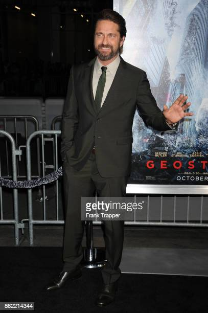 Actor Gerard Butler attends the premiere of Warner Bros Pictures' 'Geostorm' on October 16 2017 at the TCL Chinese Theater in Hollywood California