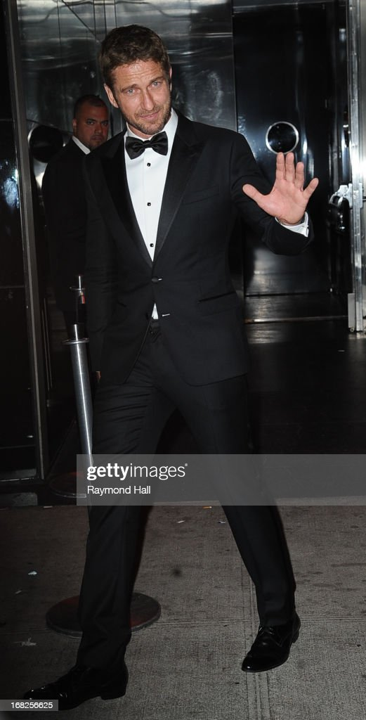 Actor Gerard Butler leaves the 'PUNK: Chaos To Couture' Costume Institute Gala after party at the Standard Hotel on May 6, 2013 in New York City.