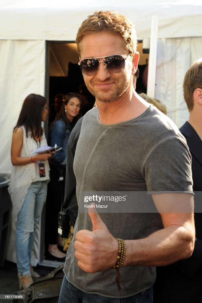 Actor <a gi-track='captionPersonalityLinkClicked' href=/galleries/search?phrase=Gerard+Butler+-+Actor&family=editorial&specificpeople=202258 ng-click='$event.stopPropagation()'>Gerard Butler</a> poses backstage at the 2013 Global Citizen Festival in Central Park to end extreme poverty on September 28, 2013 in New York City.