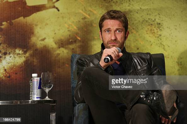 Actor Gerard Butler speaks during a press conference to promote his new film 'Olympus Has Fallen' at St Regis Hotel on April 12 2013 in Mexico City...
