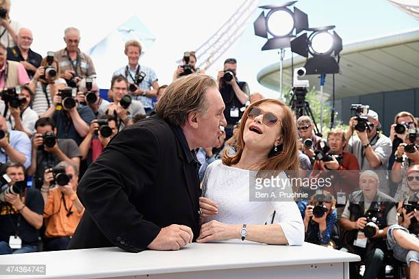 Actor Gerard Depardieu and actress Isabelle Huppert attend the 'Valley Of Love' Photocall during the 68th annual Cannes Film Festival on May 22 2015...