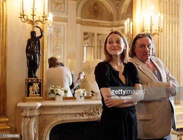Actor Gerard Depardieu and Raphaele Lannadere attend the second 'Prix Barbara' award ceremony at the Ministere de la Culture on June 21 2011 in Paris...