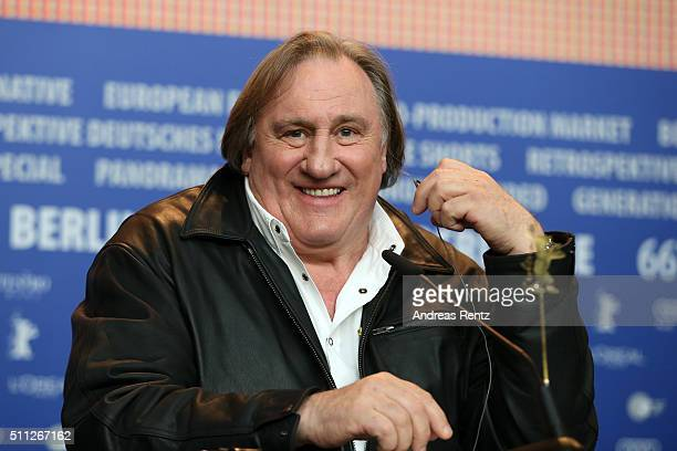 Actor Gerard Depardieu attends the 'Saint Amour' press conference during the 66th Berlinale International Film Festival Berlin at Grand Hyatt Hotel...