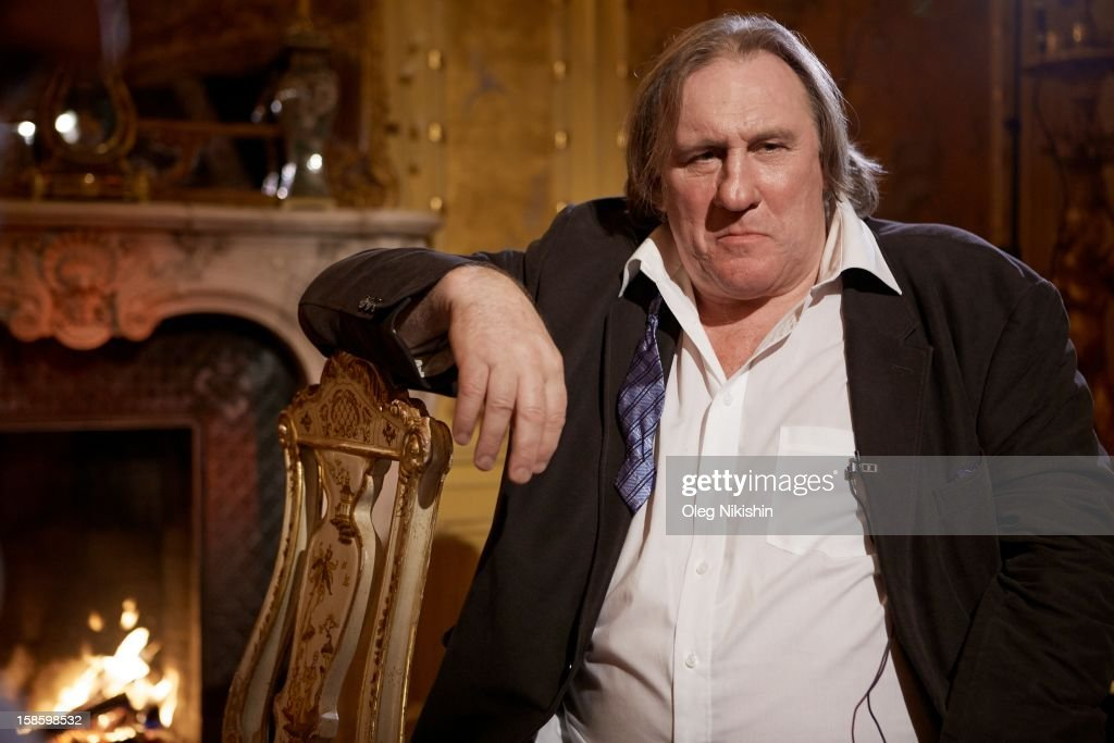 Actor <a gi-track='captionPersonalityLinkClicked' href=/galleries/search?phrase=Gerard+Depardieu&family=editorial&specificpeople=207073 ng-click='$event.stopPropagation()'>Gerard Depardieu</a> during a TV Interview on November 25, 2012 in Moscow, Russia