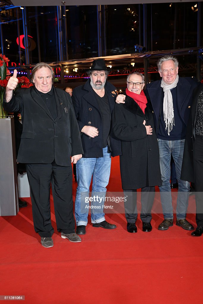 Actor <a gi-track='captionPersonalityLinkClicked' href=/galleries/search?phrase=Gerard+Depardieu&family=editorial&specificpeople=207073 ng-click='$event.stopPropagation()'>Gerard Depardieu</a>,Director Gustave Kervern,<a gi-track='captionPersonalityLinkClicked' href=/galleries/search?phrase=Dieter+Kosslick&family=editorial&specificpeople=213030 ng-click='$event.stopPropagation()'>Dieter Kosslick</a> and Director <a gi-track='captionPersonalityLinkClicked' href=/galleries/search?phrase=Benoit+Delepine&family=editorial&specificpeople=624442 ng-click='$event.stopPropagation()'>Benoit Delepine</a> attend the 'Saint Amour' premiere during the 66th Berlinale International Film Festival Berlin at Berlinale Palace on February 19, 2016 in Berlin, Germany.
