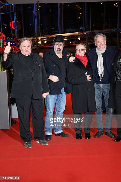 Actor Gerard DepardieuDirector Gustave KervernDieter Kosslick and Director Benoit Delepine attend the 'Saint Amour' premiere during the 66th...
