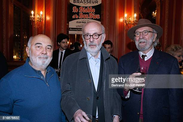 Actor Gerard Jugnot Director Bertrand Blier and Actor JeanPierre Marielle attend the 'L'Etre ou pas' Theater play at Theatre Antoine on March 21 2016...
