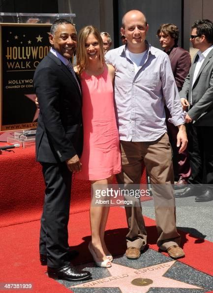 Actor Giancarlo Esposito actress Tracy Spiridakos and producer Eric Kripke attend the Giancarlo Esposito Star Ceremoney On The Hollywood Walk Of Fame...