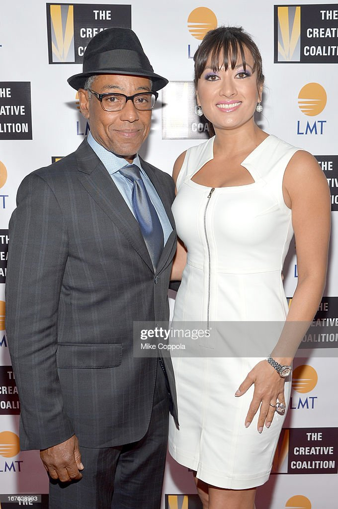 Actor Giancarlo Esposito (L) and President and CEO of Lanmark Technology inc. Lani Hay attend the Celebrating The Arts In American Dinner Party With Distinguished Women In Media Presented By Landmark Technology Inc. And The Creative Coalition at Neyla on April 26, 2013 in Washington, DC.