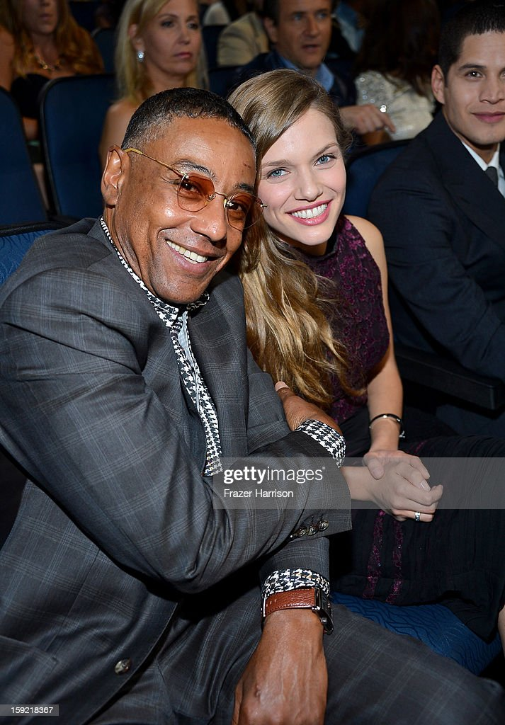 Actor Giancarlo Esposito (L) and Tracy Spiridakos in the audience at the 39th Annual People's Choice Awards at Nokia Theatre L.A. Live on January 9, 2013 in Los Angeles, California.