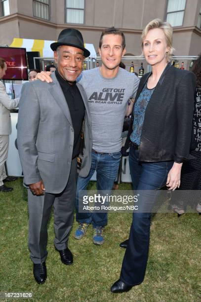 Actor Giancarlo Esposito tv personality Bear Grylls and actress Jane Lynch attend the NBC Universal Summer 2013 Press Day at Langham Hotel on April...