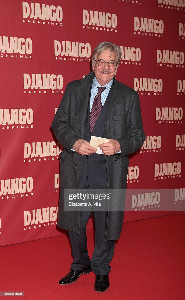 Actor Giancarlo Giannini attends 'Django Unchained' premiere at Cinema Adriano on January 4, 2013 in Rome, Italy.